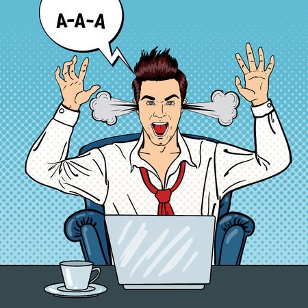 Pop Art Angry Businessman Shouting with Steam Coming out of his Ears. Vector illustration