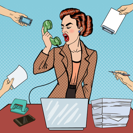 tasking: Pop Art Aggressive Business Woman Screaming into the Phone at Multi Tasking Office Work. Vector illustration