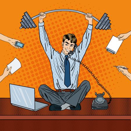 Pop Art Successful Businessman at Multi Tasking Office Work. Vector illustration
