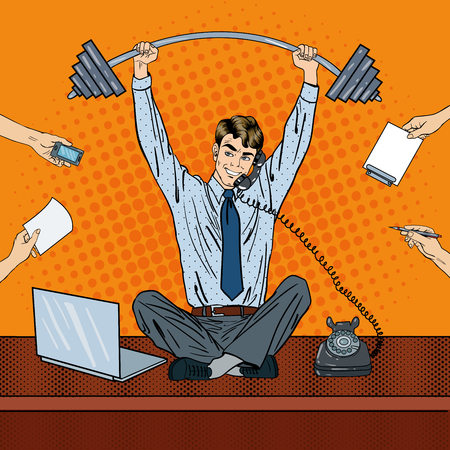 Pop Art Successful Businessman at Multi Tasking Office Work. Vector illustration