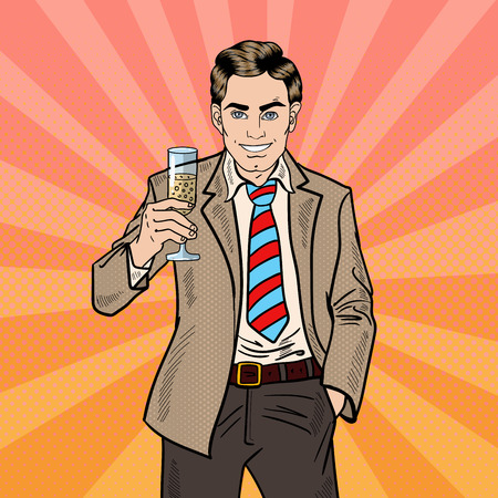 champagne celebration: Pop Art Businessman with Champagne Glass on Holiday Celebration Party. Vector illustration Illustration