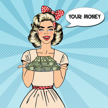 ポップアートの美しい女性がお金でプレートを保持しています。ベクトル図