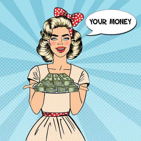 Pop Art Beautiful Woman Holding a Plate with Money. Vector illustration