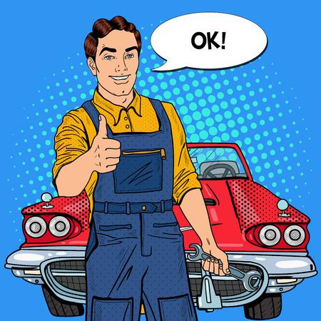 Pop-Art Zuversichtlich Lächeln Mechaniker mit Schraubenschlüssel Daumen nach oben. Vektor-Illustration Standard-Bild - 64071921