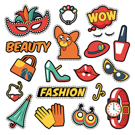 fashion set: Fashion Girls Badges, Patches, Stickers - Comic Bubble, Dog, Lips and Clothes in Pop Art Comic Style. Vector illustration