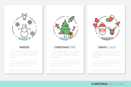 christmass: Merry Christmass Thin Line Vector Brochures with Winter Holidays Icons Santa Snowman and Christmas Tree