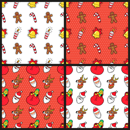 christmas cookie: Merry Christmas and Happy New Year Seamless Pattern Set with Christmas Cookie Candies and Santa. Winter Holidays Wrapping Paper. Vector background Illustration