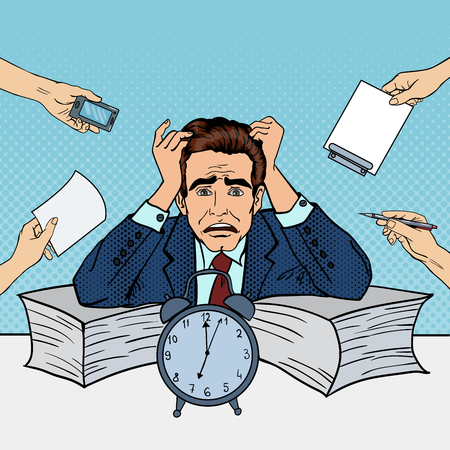 multi tasking: Pop Art Stressed Businessman at Multi Tasking Office Work. Vector illustration