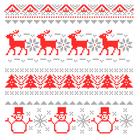 Merry Christmas Traditional Scandinavian Knitting Pixel Borders with Reindeer and Christmas Tree. Vector illustration Illustration