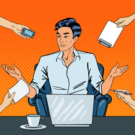 multi tasking: Disappointed Pop Art Businessman with Laptop Throws Up His Hands at Multi Tasking Office Work. Vector illustration