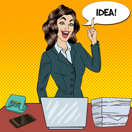 tasking: Pop Art Busy Business Woman Had an Idea at Multi Tasking Office Work. Vector illustration