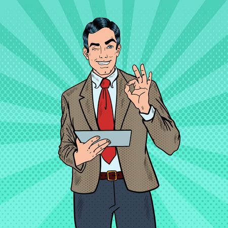 Pop Art Zakenman met de Tablet gebaren ok en Knipogen. vector illustratie