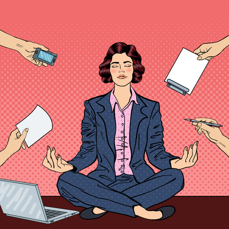 workplace wellness: Pop Art Business Woman Maditating on the Table with Laptop at Office Multi Tasking Work. Vector illustration Illustration