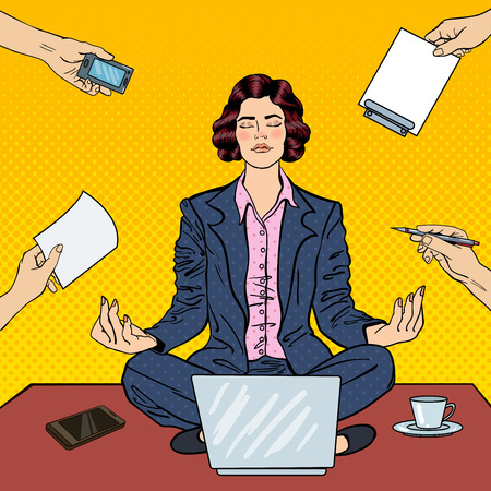 multi tasking: Pop Art Business Woman Maditating on the Table with Laptop at Office Multi Tasking Work. Vector illustration Illustration