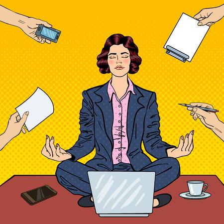 Pop Art Business Woman Maditating sur la table avec un ordinateur portable au bureau multi-tâches de travail. Vector illustration