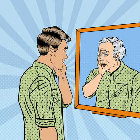 shocked man: Pop Art Shocked Man Looking at Older Himself in the Mirror. Vector illustration