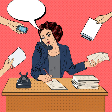 Pop Art Multitasking Busy Business Woman at Office Work. Vector illustration