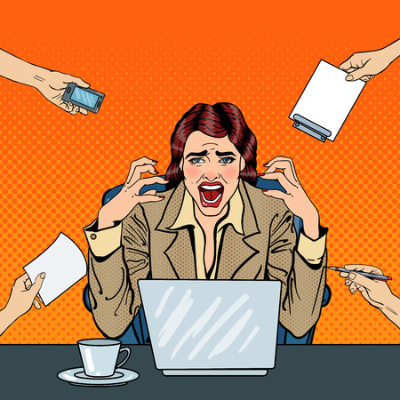 tasking: Pop Art Frustrated Stressed Business Woman Screaming at Multi Tasking Office Work. Vector illustration