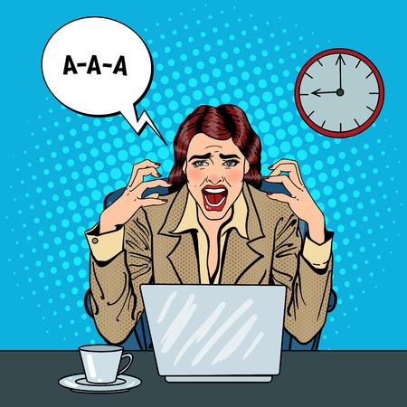 multi tasking: Pop Art Frustrated Stressed Business Woman Screaming at Multi Tasking Office Work. Vector illustration