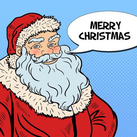 old man portrait: Pop Art Smiling Santa Claus wishing Merry Christmas in Comic Speech Bubble. Vector illustration