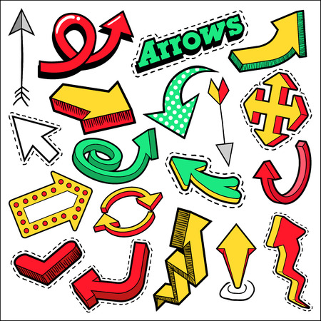 patches: Fashion Badges, Patches, Stickers Arrows Theme. Different Arrows in Comic Style. Vector illustration