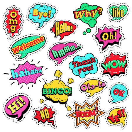 Fashion Badges, Patches, Stickers in Pop Art Comic Speech Bubbles Set with Halftone Dotted Cool Shapes with Expressions Wow, Bingo, Like. Vector Retro Background