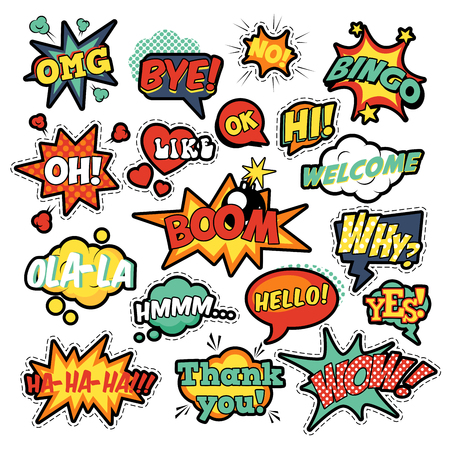 Fashion Badges, Patches, Stickers in Pop Art Comic Speech Bubbles Set with Halftone Dotted Cool Shapes with Expressions Wow, Bingo, Like. Vector Retro Background Stock fotó - 64745667