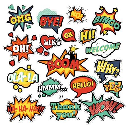 Mode Abzeichen, Aufnäher, Aufkleber in Pop-Art-Comic-Sprechblasen mit Halbton Gepunktete Kühle Formen Set mit Expressions Wow, Bingo, wie. Vektor-Retro-Hintergrund Vektorgrafik