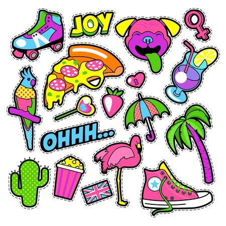 Placas de moda las niñas, parches, pegatinas - pájaro del flamenco, la pizza loro y del corazón en estilo cómico. ilustración vectorial