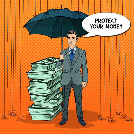 Pop Art Happy Businessman Protecting Money from Rain with Umbrella. Comic Speech Bubble. Vector Retro illustration