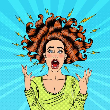 Pop-Art-Aggressive Furious Schreien Frau mit fliegenden Haaren und Flash. Vektor-Illustration Vektorgrafik