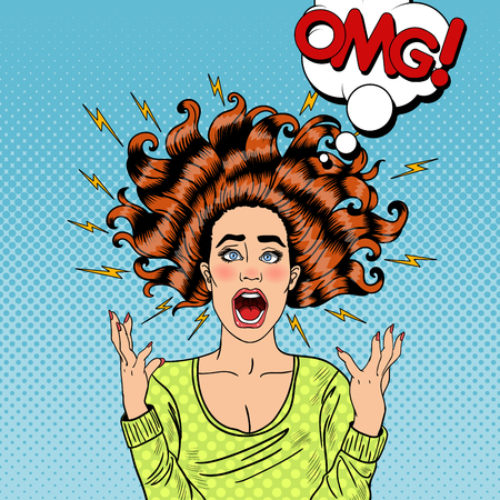 hysterical: Pop Art Aggressive Furious Screaming Woman with Flying Hair and Flash. Vector illustration
