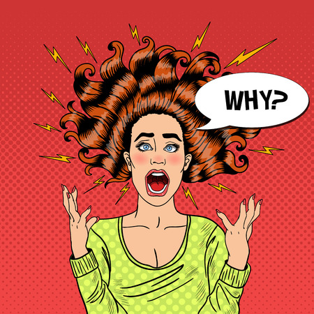madness: Pop Art Aggressive Furious Screaming Woman with Flying Hair and Flash. Vector illustration