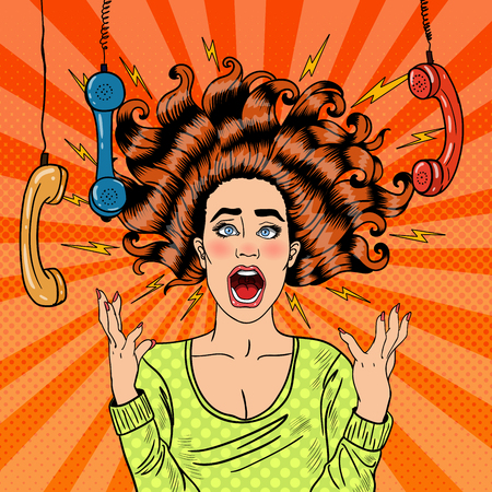 Pop Art Aggressive Furious Screaming Woman with Handset. Vector illustration Иллюстрация