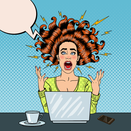 Pop Art Aggressive Furious Screaming Woman with Laptop at Office Work. Vector illustration Imagens - 64745749