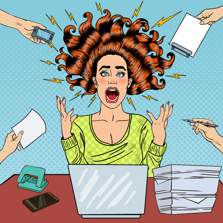 hysteria: Pop Art Aggressive Furious Screaming Woman with Laptop at Office Work. Vector illustration