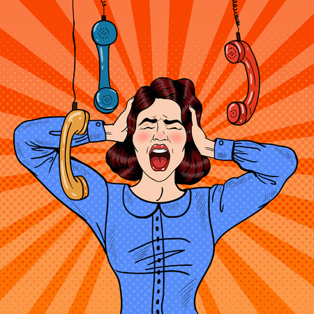 hysterical: Pop Art Angry Frustrated Woman Screaming at Office Work. Vector illustration