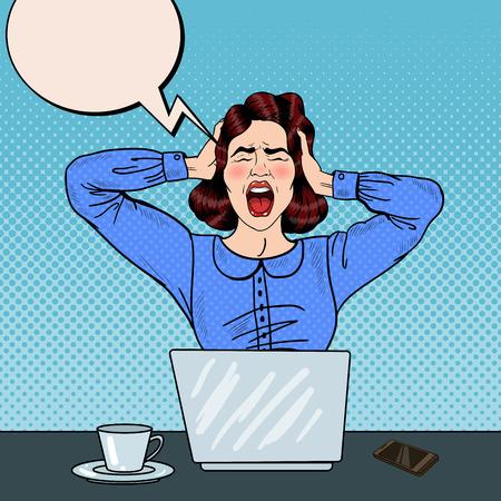 Arte pop enojado mujer frustrada que grita en el trabajo de oficina. ilustración vectorial