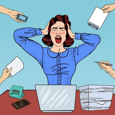 Pop Art Angry gefrustreerde vrouw schreeuwen naar Office Work. vector illustratie Vector Illustratie