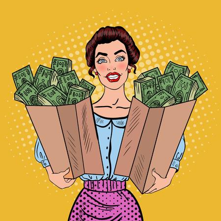 Pop-Art Glückliche reiche Frau Holding-Taschen mit Geld. Vektor-Illustration Vektorgrafik