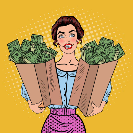 Pop Art Happy Rich Woman Holding Bags with Money. Vector illustration Vector Illustration