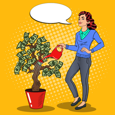 Pop Art Smiling Rich Woman Watering Money Tree with Comic Speech Bubble. Vector illustration