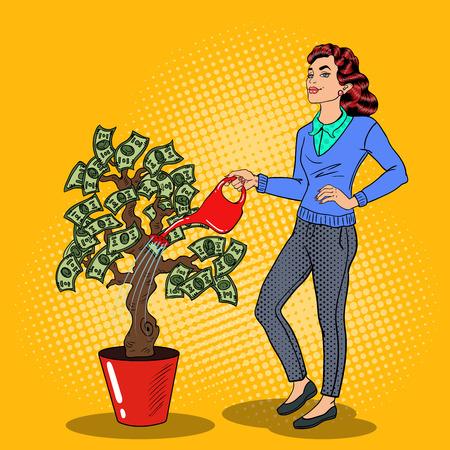 Pop Art Smiling Rich Woman Watering Money Tree. Vector illustration Vetores