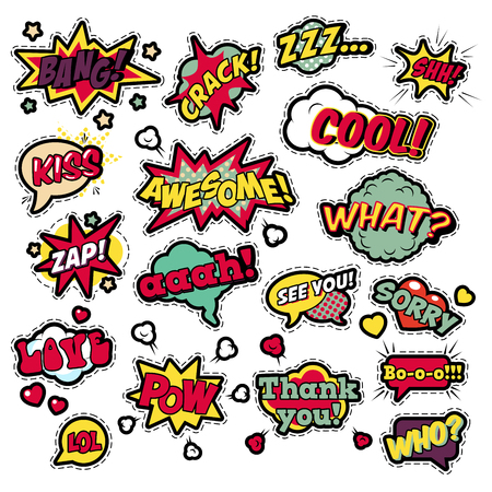 Fashion Badges, Patches, Stickers in Pop Art Comic Speech Bubbles Set with Halftone Dotted Cool Shapes with Expressions Cool Bang Zap Lol. Vector Retro Background Ilustração