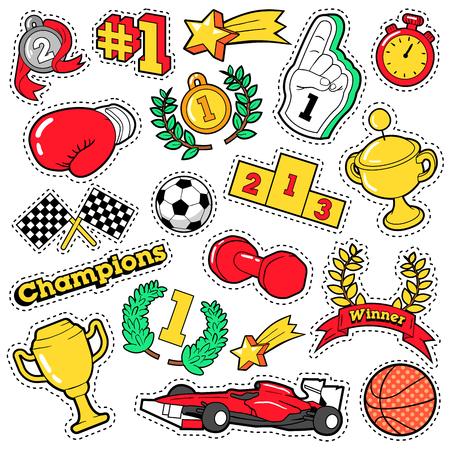 カップ、メダル、スポーツ用品、コミック スタイル テーマでバッジ、パッチ、ステッカーをファッションします。レトロのベクトルの背景  イラスト・ベクター素材