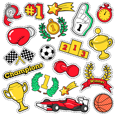 Fashion Badges, Patches, Stickers in Comic Style Champions Theme with Cups, Medals and Sports Equipment. Vector Retro Background