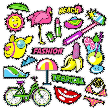 patches: Fashion Girls Badges, Patches, Stickers - Bicycle Banana Flamingo Lipstick in Comic Style. Vector doodle