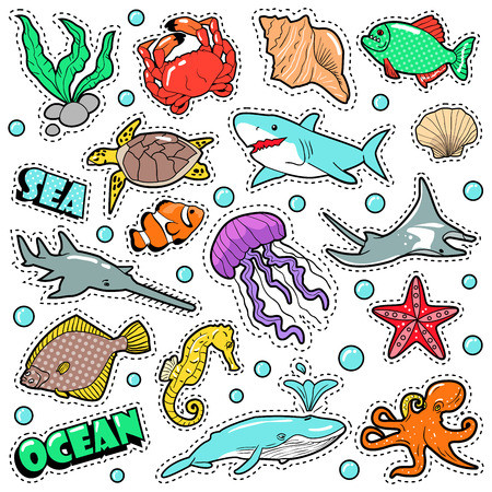 scat: Marine Life Badges, Patches, Stickers - Fish Shark Turtle Octopus in Comic Style. Sea and Ocean Nature. Vector illustration