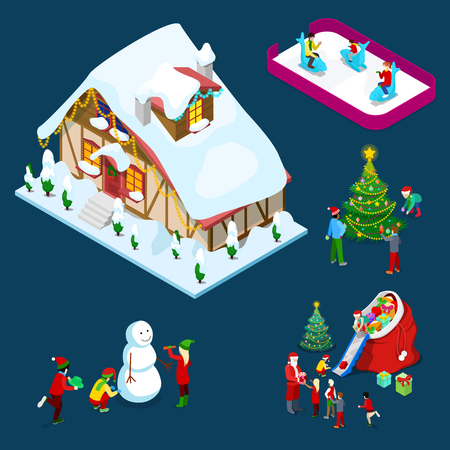Isometric Christmas Decorated House with Christmas Tree, Santa, Children and Snowman. Vector 3d flat illustration