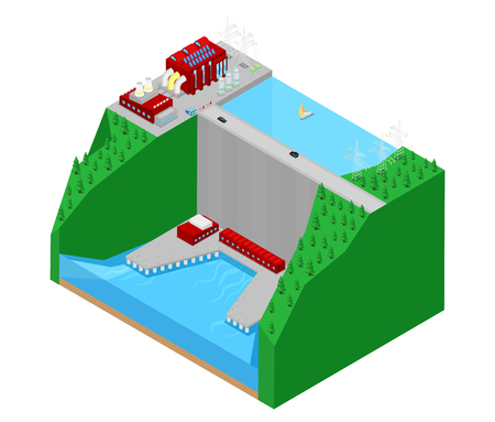 power station: Isometric Hydroelectric Plant Factory Electric Power Station. Vector 3d flat illustration Illustration